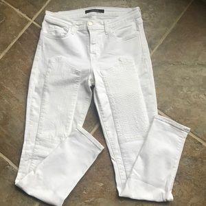 J Brand White Skinny Moto Patch Jeans Size 30
